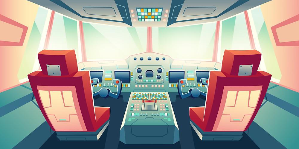 Cockpit de avião, painel de controle