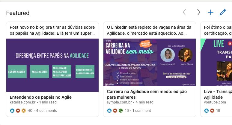 Lista de conteúdos em destaque do LinkedIn