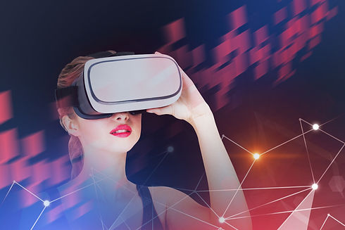 Young woman in tank top wearing vr glass