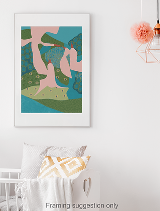 Landscape with Pink Birds unframed drawing
