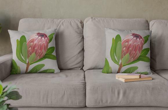 Protea Drawing Basic Pillow