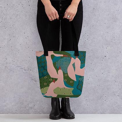 Landscape with Pink Birds Tote bag