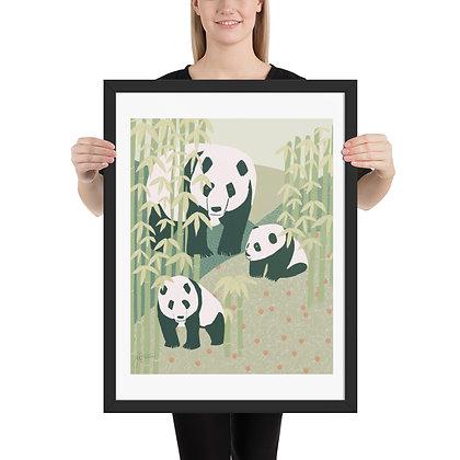 Panda Family framed drawing