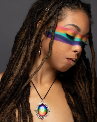 Model Wearing Mystic Oval Pendant. Photography by Alex Newton