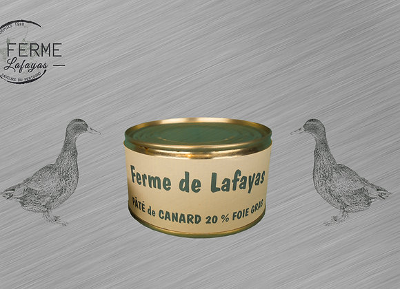 Patee de canard 20% foie gras 190 g