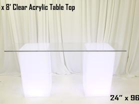 2' x 8'  Acrylic Table Top - Clear