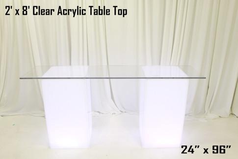 2 x 8 Clear Acrylic Table Top