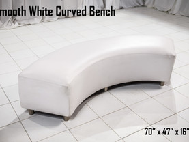 White Leather Curved Bench