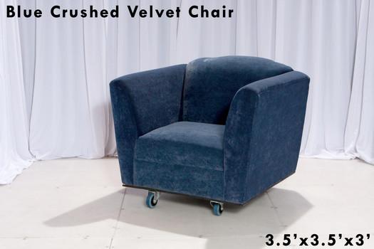 Blue Crushed Velvet Chair