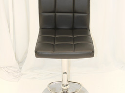 Black Tufted Leather Chic Stool