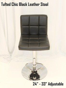 Tufted Chic Black Leather Stool