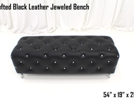 Black Leather Tufted Jeweled Bench
