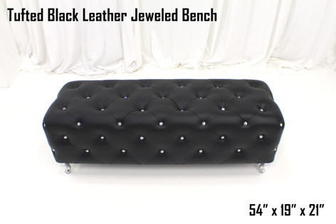 Tufted Black Leather Jeweled Bench