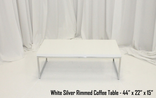 White Silver Rimmed Coffee Table