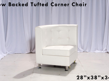 White Leather Tufted Low Back Corner Curved Chair
