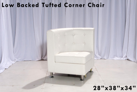 Tufted Low Back White Leather Corner Curved Chair
