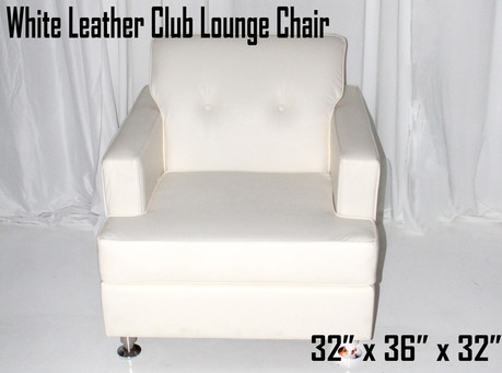White Leather Club Lounge Chair
