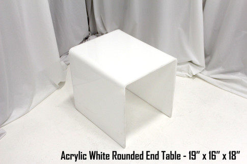 Acrylic White Rounded End Table