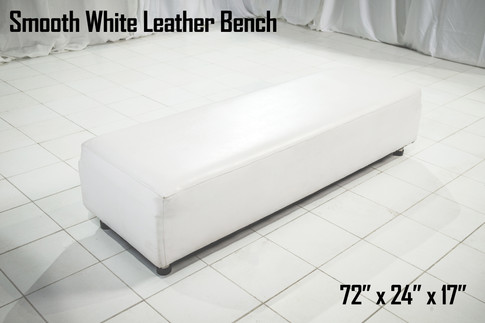 Smooth White Leather Bench