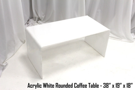 Acrylic White Rounded Coffee Table