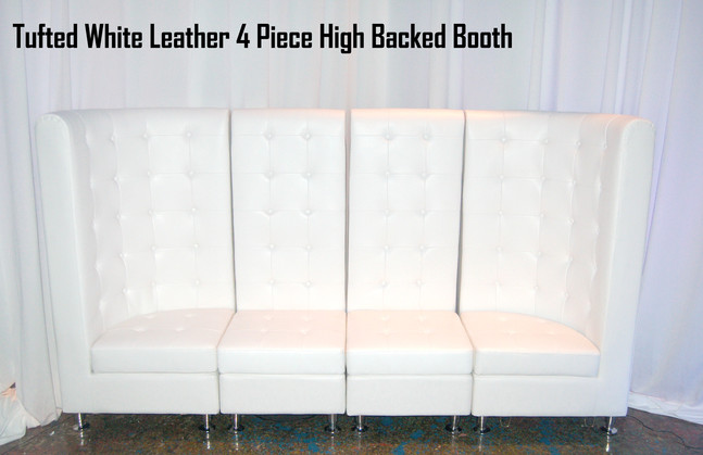 Tufted White Leather 4 Piece High Back Booth