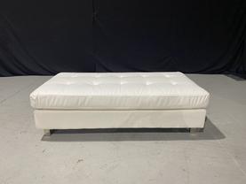 White Leather Box Stitch Bench
