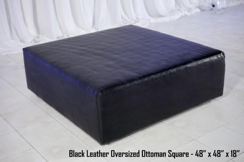 Oversized Black Leather Ottoman Square