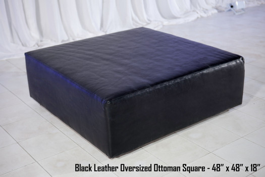 Oversized Black Leather Ottoman Square