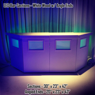 LED Bar Sections White Wood with Angle Ends