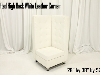 """White Leather Tufted High Back Corner Chair - 52"""""""