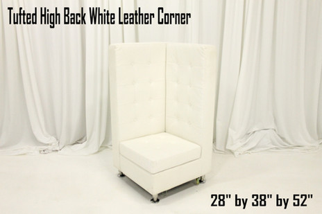 Tufted High Back White Leather Corner - Lower 52 Inch