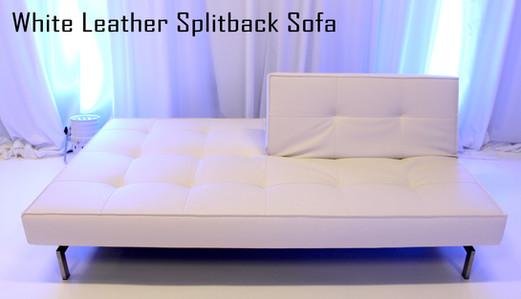 White Leather Splitback Sofa Half Up