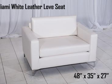 Miami White Leather Love Seat