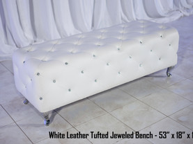 White Leather Tufted Jeweled Bench