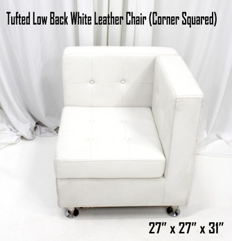 Tufted Low Back White Leather Chair (Corner Squared)