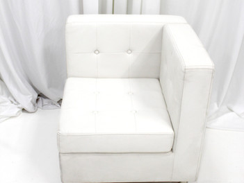White Leather Tufted Low Back Chair (Corner Squared)