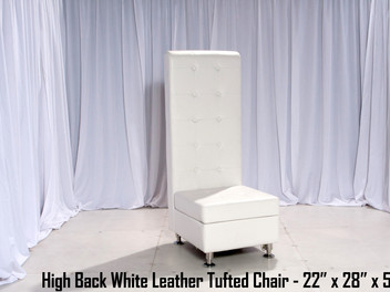 White Leather Tufted High Back Chair