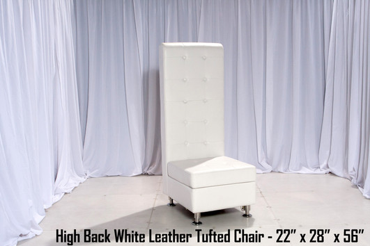Tufted High Back White Leather Chair