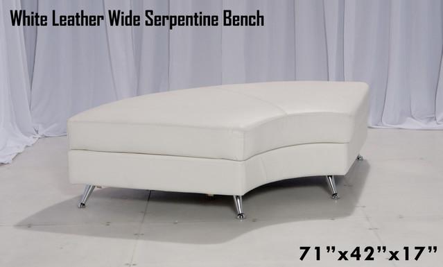 White Leather Wide Serpentine Bench