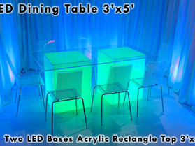 3' x 5' Rectangle Acrylic Top - Clear