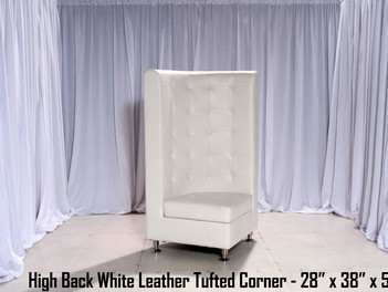 White Leather Tufted High Back Corner Chair