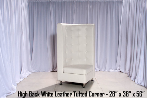 Tufted High Back White Leather Corner