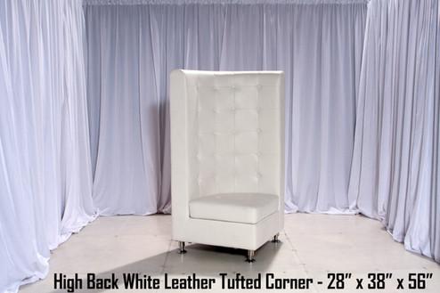 Tufted High Back White Leather Corner