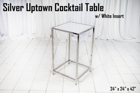Silver Uptown Cocktail Table White Insert