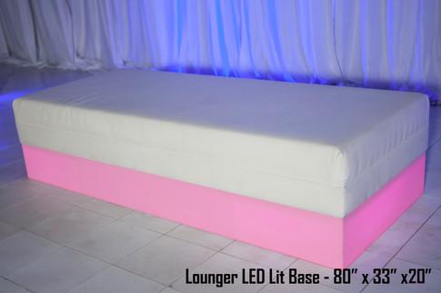 White Leather Lounger LED Lit Base