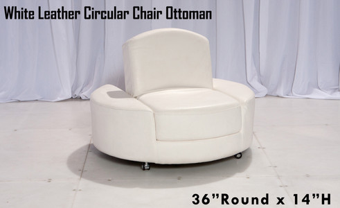 White Leather Circular Chair Ottoman