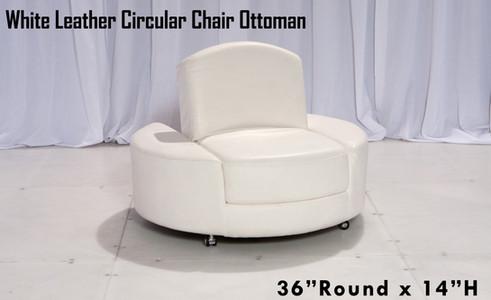 White Leather Circular Chair Ottoman