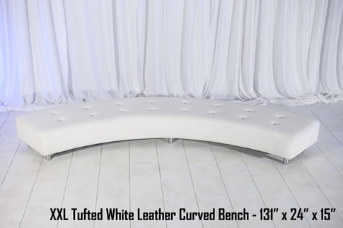 XXL Tufted White Leather Curved Bench