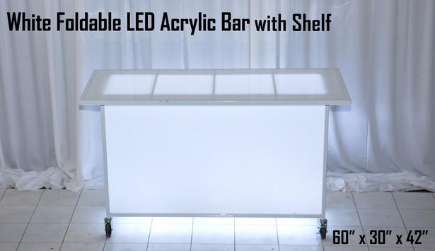 White Foldable LED Acrylic Bar with Shelf