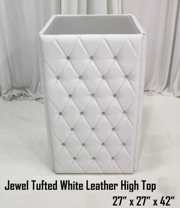 42 Jewel Tufted White Leather High Top